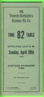 HORAIRES, TIME TABLES - THE TORONTO HAMILTON & BUFFALO RY. C. No 82, APRIL 1968 - 46 PAGES - - World