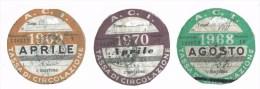 Italia - Riproduzione di 3 Bolli Auto Agosto 1968 - Aprile 1969 - Aprile 1970
