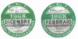 Italia - Riproduzione di 2 Bolli Auto Febbraio1968 - Dicembre1968