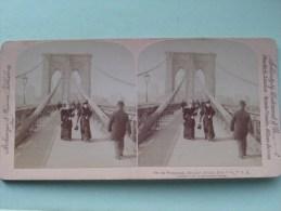 Brooklyn Bridge Promenade New York USA / Strohmeyer & Wyman New York ( Underwood / Zie Photo Voor/pour Detail ) !! - Stereoscopio