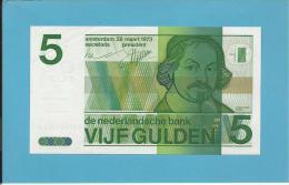 NETHERLANDS -  5 GULDEN - 28.03.1973 - Pick 95 - VONDEL - 2 Scans - 5 Florín Holandés (gulden)