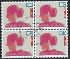 2010 SVIZZERA USATO JEANNE HERSCH QUARTINA ANNULLO FDC - Used Stamps