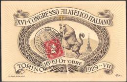 XVI CONGRESSO FILATELICO ITALIANO - TORINO - 16/19 OTTOBRE 1929 - VIAGGIATA - Bolsas Y Salón Para Coleccionistas