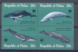C004 WWF FAUNA WALVISSEN WHALES MARINE LIFE PALAU 1983 PF/MNH - W.W.F.