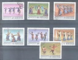 MONGOLIA COMPLETE SET YVERT NRS.  894-900 OBLITERES TBE DANSES MONGOLES AÑO 1977 DANZAS BAILES