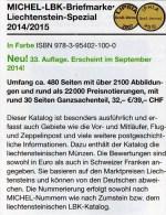 Liechtenstein MICHEL Spezial Briefmarken Katalog 2015 Neu 32€ Vorläufer Flug-/Militär-Post Belege Ganzsache Catalogue FL - Liechtenstein
