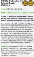 Schweiz Spezial MICHEL Briefmarken Katalog 2015 Neu 50€ MH ATM Porto DM UNO Genf Internationale Ämter Catalogue Helvetia - Schweiz
