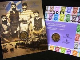 Grèce 2013 : 2€ Commémoratives ´Platon´ Et ´Crète´ (en Coincards) - 7500 Exemplaires De Chaque - Grecia