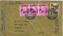 20c Industrial Bank Of Peru (3) And 80c Mountain Road 1940 Cerro De Pasco I Airmail To Alameda, Calif. - Peru