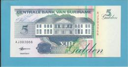 SURINAM - 5 GULDEN - 10.02.1998 - Pick 136.b - UNC. - Wmk. Toucan - 2 Scans - Surinam
