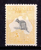 Australia 1918 Kangaroo 5/- Grey & Yellow 3rd Wmk INVERTED MH - Mint Stamps