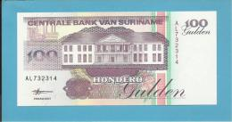SURINAM - 100 GULDEN - 10.02.1998 - Pick 139.b - UNC. - Wmk. Toucan - 2 Scans - Surinam