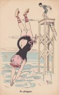 """Cpa """"Le Plongeon"""". Georges Mouton - Beauté Féminine D'autrefois < 1920"""