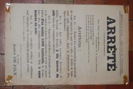 Affiche, Arrêté De Fermeture Des Cafés, Tavernes, Buvettes Et Débits, Préfet Des Alpes Maritimes, 2 Mars 1915, ORIGINAL - Afiches