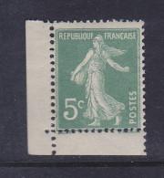 FRANCE N° 137 5C VERT TYPE SEMEUSE CAMEE TIMBRE DE C ARNET NEUF SANS CHARNIERE - Carnets