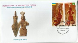PAKISTAN MNH 2014 FDC FIRST DAY COVER JOINT ISSUE PAKISTAN UKRAINE MOUNMENTS OF ANCIENT CULTURES MOEN JO DARO TRYPILLIA - Pakistan