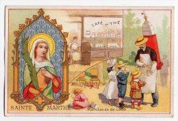 RARE Chromo Chicorée Au Portrait Sainte Marthe Religion Jour Fête Patronne Métier Marchand De Coco Cafétier Boisson - Trade Cards