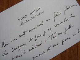 Tony AUBIN (1907-1981) Compositeur & Chef D´orchestre - Académie BEAUX ARTS - AUTOGRAPHE - Autographes