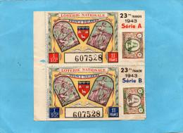 """LOTERIE NATIONALE -2 Billets 23ème Tranche -1943""""Françe Toujours"""" Illustré-mineur En Galerie-paysanne - Billets De Loterie"""