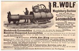 Original Werbung - 1888 - R. Wolf In Magdeburg-Buckau , Locomobile , Lokomobile ,Dampfmaschinen , Hamburg !!! - Maschinen