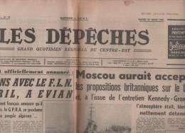 LES DEPECHES 28 03 1961  DIJON - LAOS - FLN EVIAN - BELGIQUE ELECTIONS - HEINRICH MANN - BRIGITTE BARDOT ROGER VADIM - Periódicos