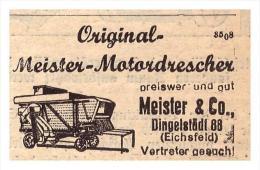 Original Werbung - 1939 - Motordrescher , Meister & Co In Dingelstädt 99 , Eichsfeld !! - Optik