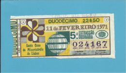 LOTARIA NACIONAL - 5.ª ORD. - 11.02.1971 - Portugal - 2 Scans E Description - Loterijbiljetten