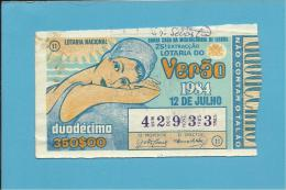 LOTARIA NACIONAL - 25.ª ORD. - 12.07.1984 - ESPECIAL DE VERÃO - Portugal - 2 Scans E Description - Lottery Tickets