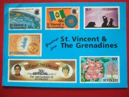 SAINT VINCENT ET LES GRENDINES - GREETINGS FROM + AFFRANCHISSEMENT - - Saint-Vincent-et-les Grenadines