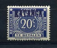 KATANGA- BELGISCH CONGO Tax 20 Cent Hand Overprinted  MINT NEVER HINGED - Katanga