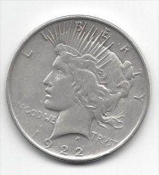 1 One Dollar 1922 - PEACE - Silver - Etats-Unis - Federal Issues