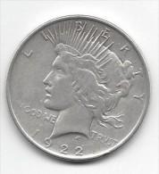 1 One Dollar 1922 - PEACE - Silver - Etats-Unis - Émissions Fédérales