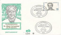 DC-0253 - FDC GERMANY 1975 - ALBERT SCHWEITZER NOBELPRIZE PEACE - Nobel Prize Laureates