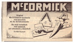 Original Werbung - 1939 -  Mc Cormick - Ersatzteile , Schlepper , Traktor , Landwirtschaft !! - Traktoren