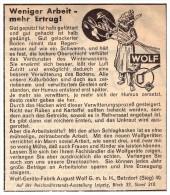 Original Werbung - 1939 - Wolf-Geräte-Fabrik In Betzdorf A. Sieg , Schlepper , Traktor , Landwirtschaft !! - Traktoren
