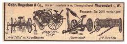 Original Werbung - 1939 - Hagedorn & Co In Warendorf I.W. , Schlepper , Traktor , Landwirtschaft !! - Traktoren