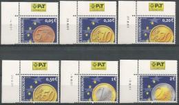 Luxembourg 2001 1497 - 1502 ** Cdf Daté - Monnaies - Euro - Coins