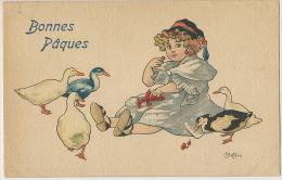 Bottaro Bonnes Paques Petite Fille Mangeant Des Cerises Avec Des Canards Cherries Duck - Bottaro