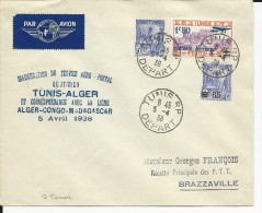 1938 - ENVELOPPE 1° VOL AEROPOSTAL TUNIS-ALGER - Poste Aérienne