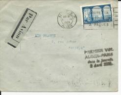 1935 - ENVELOPPE 1° VOL AIR FRANCE ALGER à PARIS Dans La JOURNEE - Poste Aérienne