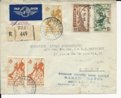 1945 - ENVELOPPE 1° VOL SANS ESCALE DAKAR FRANCE Par HYDRAVION LATE - SENEGAL - Poste Aérienne
