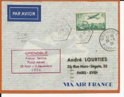 1936 - ENVELOPPE 1° VOL POSTAL De GRENOBLE - OBLITERATION FOIRE EXPOSITION - Poste Aérienne