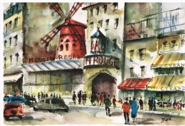 Carte Postale Paris -Pigalle, Le Moulin Rouge - Cafés, Hôtels, Restaurants