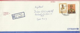 Brunei 1988 Registered Cover With 20s And $ 1.00 Stamps, From Kuala Belait To Singapore - Brunei (1984-...)