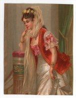 RARE Chromo Testu & Massin Portrait Jeune Fille Femme Pensive Couronne Rose Fleur Toilette Soir Bal Fête Bijoux Ruban - Chromos