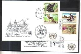 BLO842 UNO WIEN 2002 MICHL 357/59  WEISSE KARTE - White Cards - Wien - Internationales Zentrum