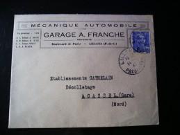 Enveloppe Mécanique Automobile Garage A.Franche - Motoriste, Bd De Paris, Lillers (P-De-C), N°718A,seul Sur Lettre - 1945-54 Marianne Of Gandon
