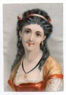 Chromo Bognard Papier Portrait Jeune Fille Femme Buste Cheveux Noir Coiffure Ruban Rose Bijoux Or Regard Pensive - Chromos