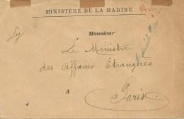 France 1894 Paris Ministere De La Marine Etat Major General De La Marine Cover - Marcofilie (Brieven)