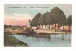 CPA : 18 - Dun Sur Auron : Ecluse Et Bassin Du Canal Du Berry : écluse - Maison - Lavendière .. Colorisée - Dun-sur-Auron